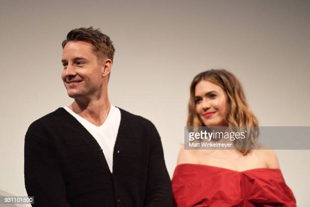 Justin Hartley and Mandy Moore attend the 'This is Us' Premiere 2018 SXSW Conference and Festivals at Paramount Theatre on March 12 2018 in Austin...
