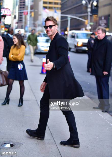 Justin Hartley arrives to 'The Late Show With Stephen Colbert' at the Ed Sullivan Theater on March 6 2018 in New York City