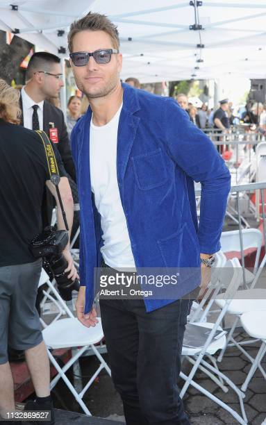 Justin Hartley attends Mandy Moore's Star Ceremony on the Hollywood Walk of Fame on March 25 2019 in Hollywood California