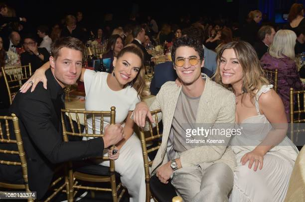 Justin Hartley Chrishell Stause Darren Criss and Mia Swier attend the 24th annual Critics' Choice Awards at Barker Hangar on January 13 2019 in Santa...