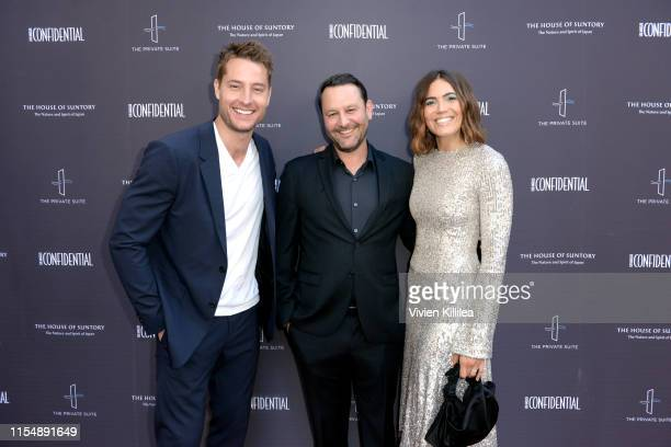 Justin Hartley Dan Fogelman and Mandy Moore attend the Los Angeles Confidential Impact Awards at The LINE Hotel on June 09 2019 in Los Angeles...
