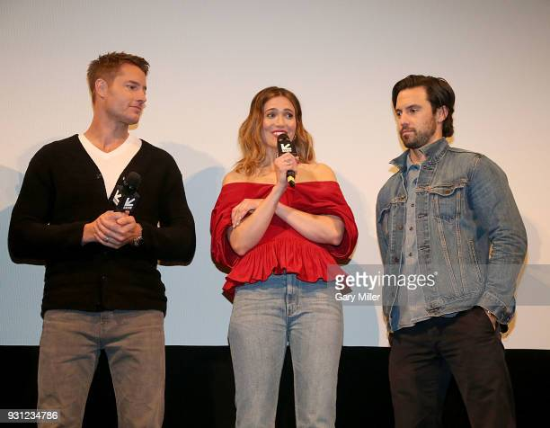 Justin Hartley Mandy Moore and Milo Ventimiglia attend a screening of This Is Us 2nd season finale at the Paramount Theatre during South By Southwest...