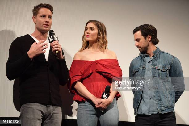 Justin Hartley Mandy Moore and Milo Ventimiglia attend the 'This is Us' Premiere 2018 SXSW Conference and Festivals at Paramount Theatre on March 12...