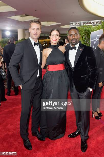Justin Hartley Mandy Moore and Sterling K Brown attends The 75th Annual Golden Globe Awards at The Beverly Hilton Hotel on January 7 2018 in Beverly...