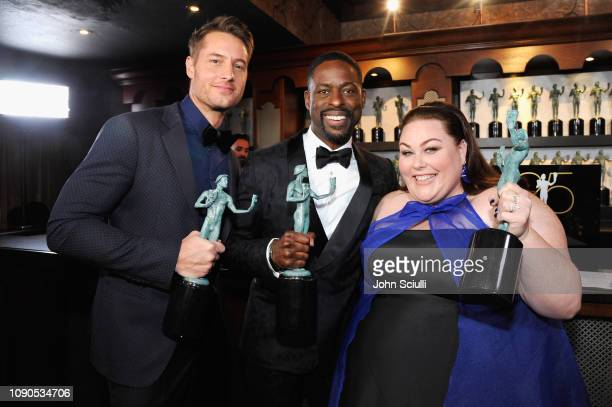 Justin Hartley Sterling K Brown and Chrissy Metz attend the 25th Annual Screen ActorsGuild Awards at The Shrine Auditorium on January 27 2019 in Los...