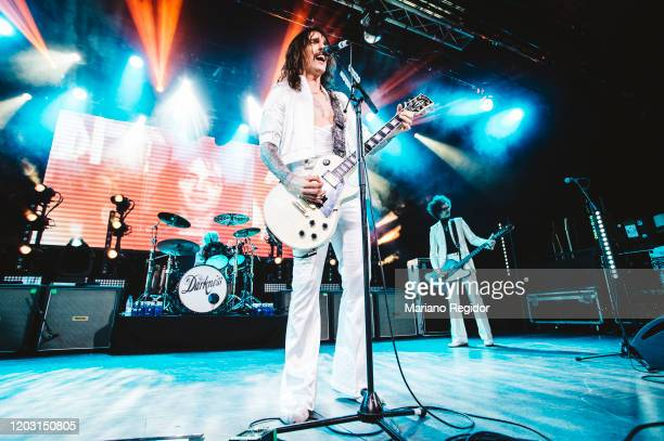 Justin Hawkins and Frankie Poullain of the British rock band The Darkness perform on stage at La Riviera on January 30 2020 in Madrid Spain