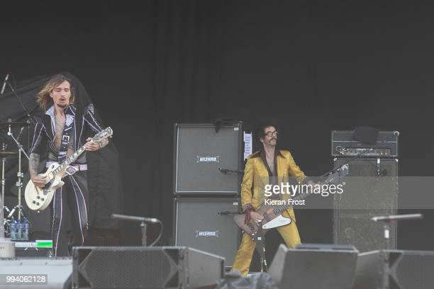 Justin Hawkins and Frankie Poullain of The Darkness perform at Marlay Park on July 8 2018 in Dublin Ireland
