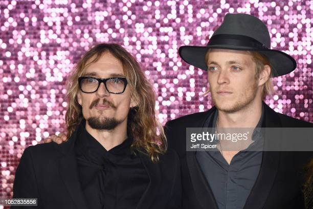 Justin Hawkins and Rufus Tiger Taylor attend the World Premiere of 'Bohemian Rhapsody' at SSE Arena Wembley on October 23 2018 in London England