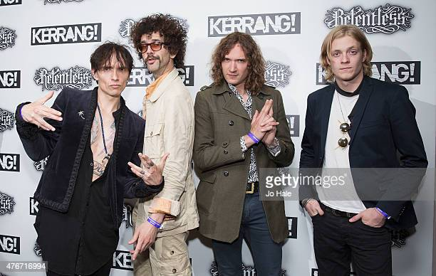 Justin Hawkins Frankie Poullain Dan Hawkins and Rufus Tiger Taylor of The Darkness attend the Relentless Energy Drink Kerrang Awards at the Troxy on...