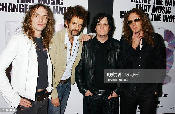 Justin Hawkins Frankie Poullain Ed Graham and Dan Hawkins of The Darkness arrive at the Premiere screening of the new fourdisc DVD featuring 10 hours...
