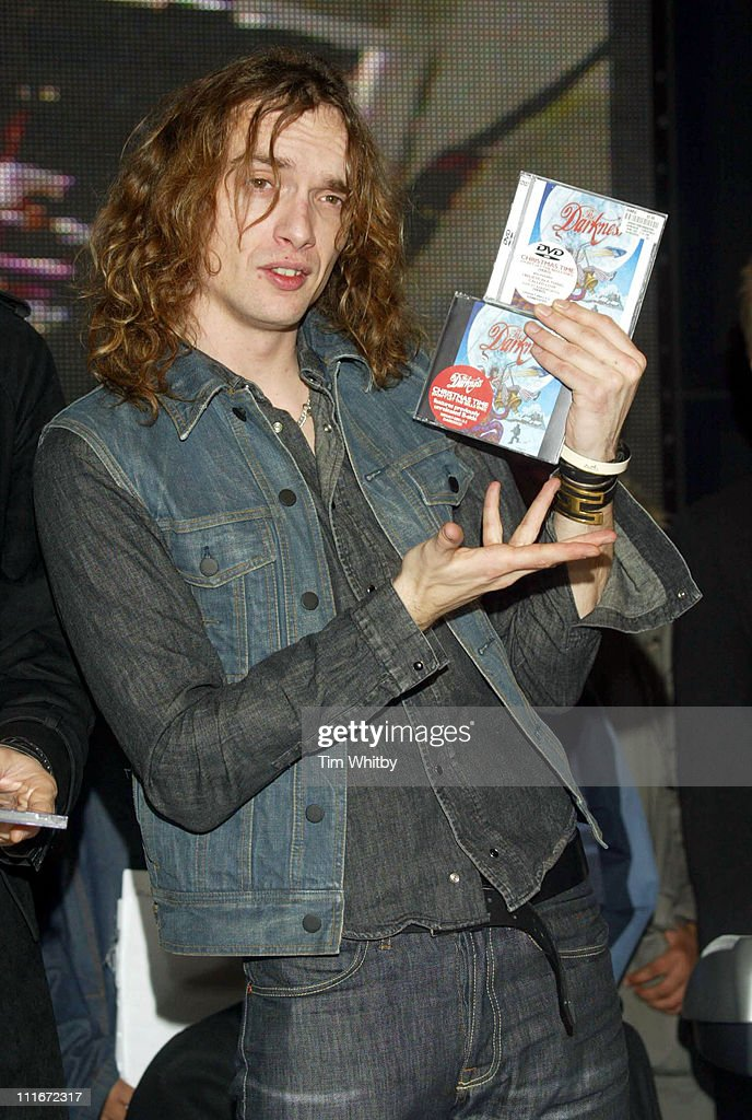 Justin Hawkins from The Darkness during The Darkness Sign Copies Of Their New Christmas Single 'Don't Let The Bells End' at HMV Music Store in London, Great Britain.