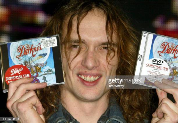 Justin Hawkins from The Darkness during The Darkness Sign Copies Of Their New Christmas Single 'Don't Let The Bells End' at HMV Music Store in London...