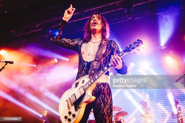 Justin Hawkins of the British rock band The Darkness performs on stage at La Riviera on January 30 2020 in Madrid Spain