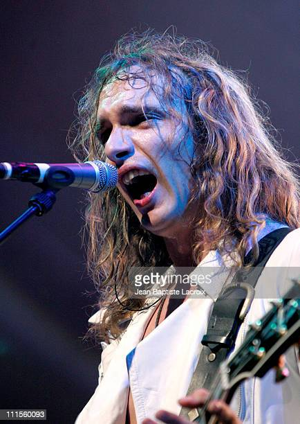 Justin Hawkins of The Darkness during The Darkness in Concert August 24 2004 at Olympia in Paris France