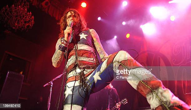Justin Hawkins of The Darkness performs at Bimbo's 365 Club on February 21 2012 in San Francisco California