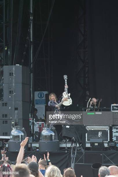 Justin Hawkins of The Darkness performs at Marlay Park on July 8 2018 in Dublin Ireland