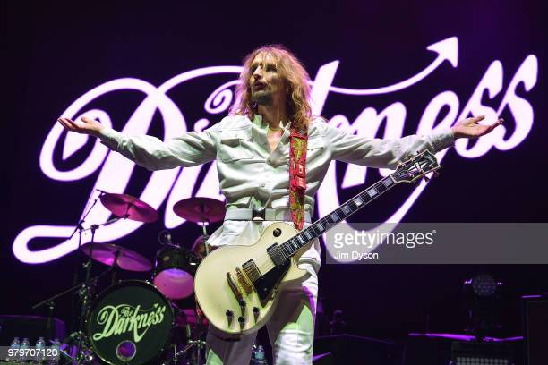 Justin Hawkins of The Darkness performs live on stage at Wembley Arena on June 20 2018 in London England