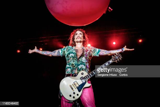 Justin Hawkins of The Darkness performs on stage at CarroPonte on July 20 2019 in Milan Italy