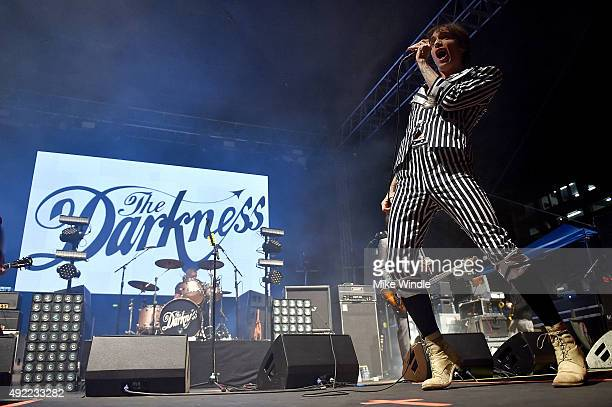 Justin Hawkins of The Darkness performs onstage during Festival Supreme 2015 at The Shrine Auditorium on October 10 2015 in Los Angeles California