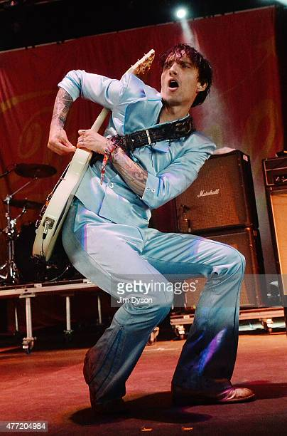 Justin Hawkins of The Darknessl performs live on stage during Day 3 of the Download Festival at Donington Park on June 14 2015 in Castle Donington...