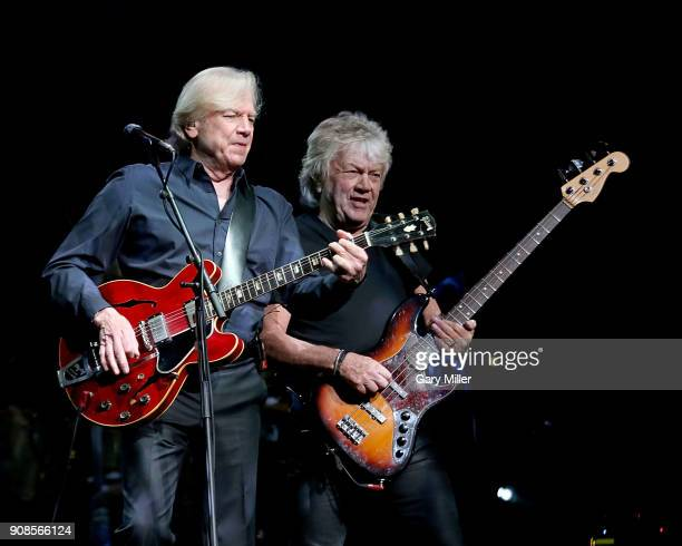 Justin Hayward and John Lodge of the Moody Blues perform in concert at HEB Center at Cedar Park on January 21 2018 in Cedar Park Texas