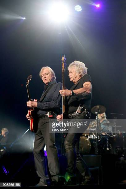 Justin Hayward John Lodge and Graeme Edge of the Moody Blues perform in concert at HEB Center at Cedar Park on January 21 2018 in Cedar Park Texas