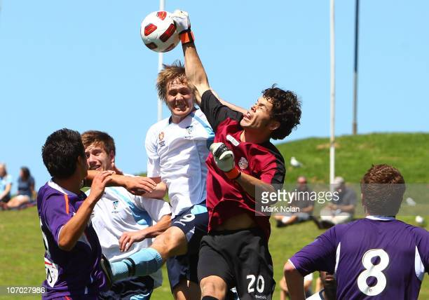 Justin Hayward of Sydney and Timothy Doyle of Perth contest possession during the round 10 Youth League match between Sydney FC and the Perth Glory...