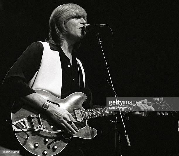 Justin Hayward of the Moody Blues performs on stage at Ahoy on 9th November 1979 in Rotterdam Netherlands He plays a Gibson ES335 guitar with Bigsby...