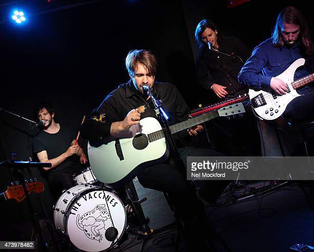 Justin HaywardYoung Pete Robertson and Arni Arnason of The Vaacines in session at Absolute Radio on May 19 2015 in London England