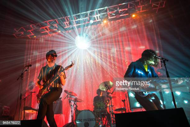 Justin HaywardYoung Yoann Intonti and Arni Arnason of The Vaccines perform on stage at O2 Academy Glasgow on April 12 2018 in Glasgow Scotland