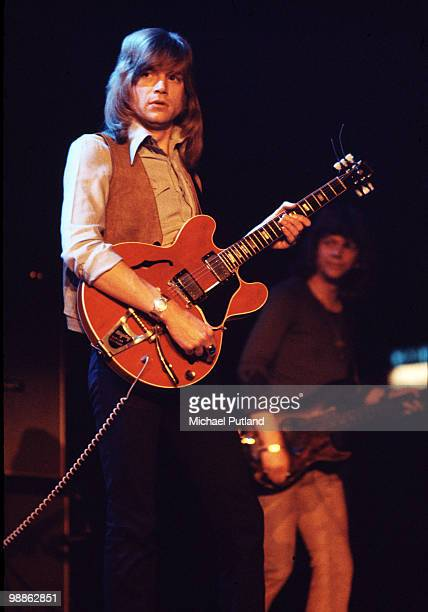 Justin Haywood and John Lodge performing with British pop group The Moody Blues United Kingdom circa 1975
