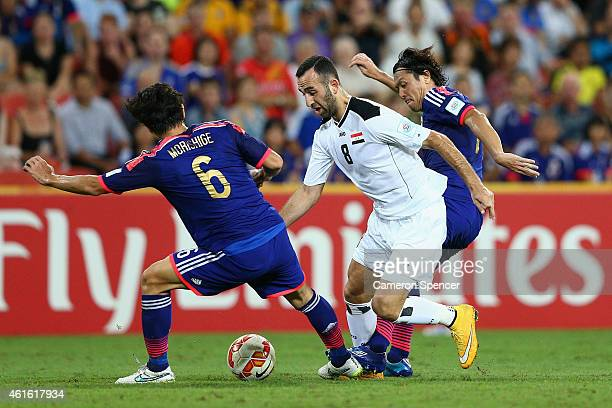 Justin Hikmat Azeez of Iraq controls the ball during the 2015 Asian Cup match between Iraq and Japan at Suncorp Stadium on January 16 2015 in...