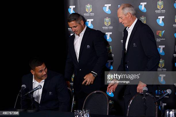Justin Hodges Corey Parker and Wayne Bennett of the Broncos arrive at the official 2015 NRL Grand Final press conference at The Star Room on October...