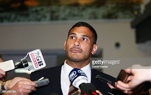 Justin Hodges of the Brisbane Broncos talks to the media after being found not guilty of a dangerous throw on September 29 2015 in Sydney Australia