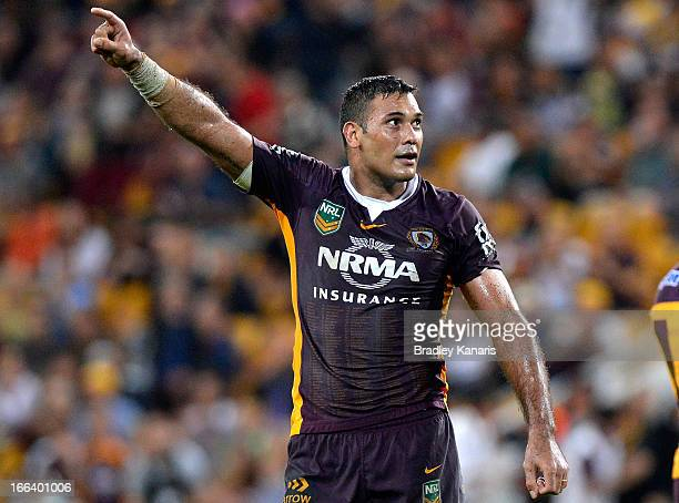 Justin Hodges of the Broncos celebrates victory after the round six NRL match between the Brisbane Broncos and the North Queensland Cowboys at...
