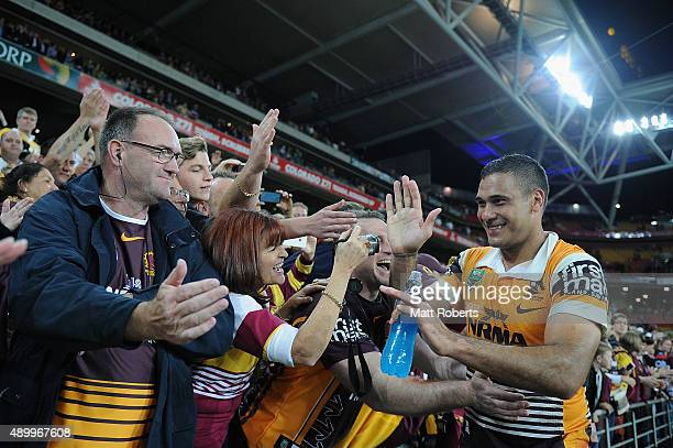 Justin Hodges of the Broncos celebrates victory with fans after the NRL First Preliminary Final match between the Brisbane Broncos and the Sydney...