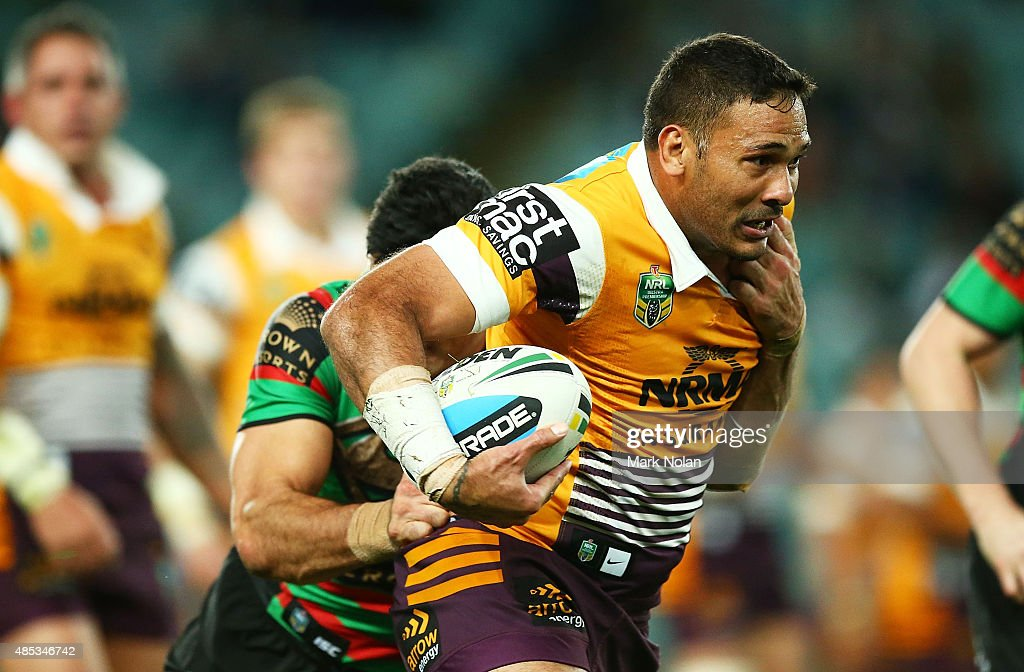Justin Hodges of the Broncos in action during the round 25 NRL match between the South Sydney Rabbitohs and the Brisbane Broncos at Allianz Stadium on August 27, 2015 in Sydney, Australia.