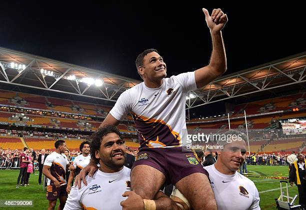Justin Hodges of the Broncos is chaired off after his final premiership match for the Broncos after the round 26 NRL match between the Brisbane...