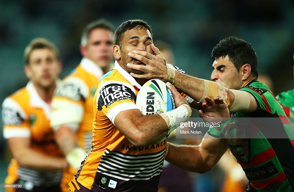 Justin Hodges of the Broncos is tackled during the round 25 NRL match between the South Sydney Rabbitohs and the Brisbane Broncos at Allianz Stadium on August 27, 2015 in Sydney, Australia.
