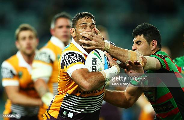 Justin Hodges of the Broncos is tackled during the round 25 NRL match between the South Sydney Rabbitohs and the Brisbane Broncos at Allianz Stadium...