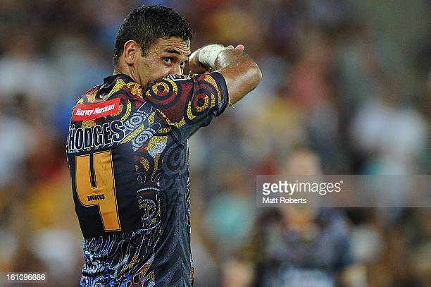 Justin Hodges of the Indigenous All Stars looks on during the NRL All Stars Game between the Indigenous All Stars and the NRL All Stars at Suncorp...