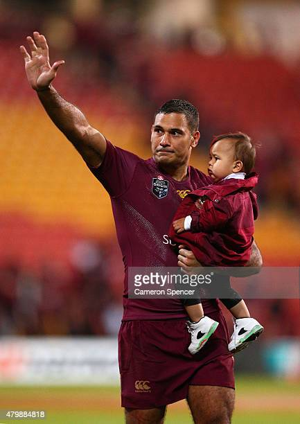 Justin Hodges of the Maroons thanks fans after winning game three of the State of Origin series between the Queensland Maroons and the New South...