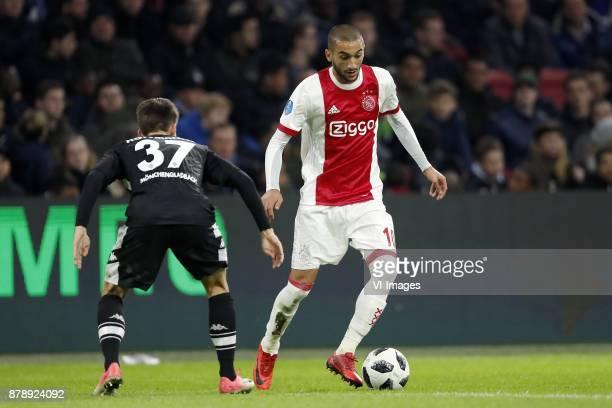 Justin Hoffmanns of Borussia Monchengladbach Hakim Ziyech of Ajax during the international friendly match between Ajax Amsterdam and Borussia...