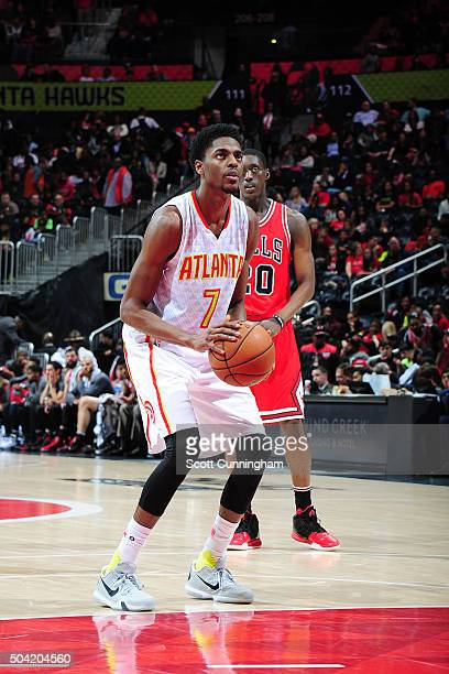 Justin Holiday of the Atlanta Hawks shoots a free throw during the game against the Chicago Bulls on January 9 2016 at Philips Center in Atlanta...