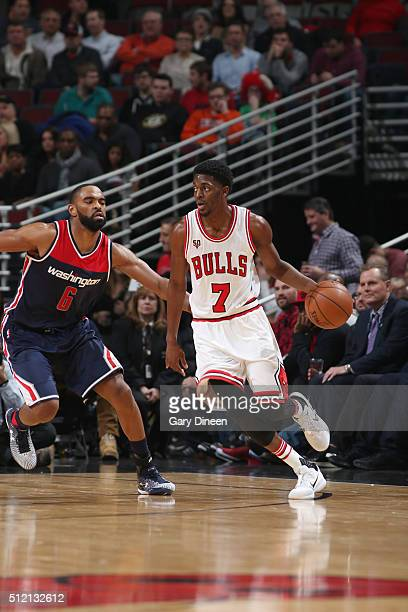 Justin Holiday of the Chicago Bulls drives to the basket against the Washington Wizards during the game on February 24 2016 at United Center in...