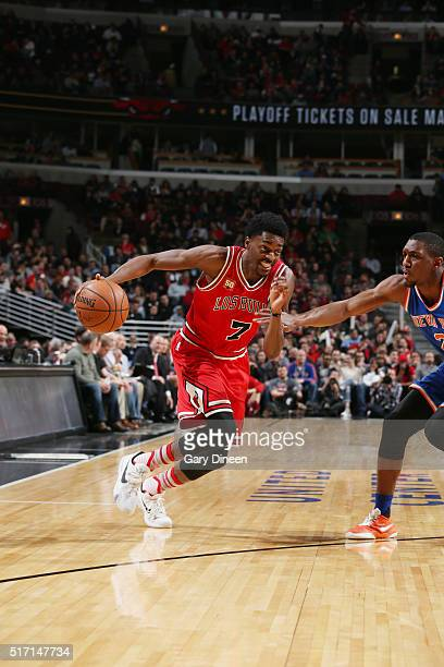Justin Holiday of the Chicago Bulls drives to the basket against the New York Knicks on March 23 2016 at the United Center in Chicago Illinois NOTE...