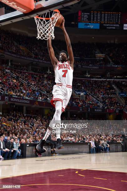 Justin Holiday of the Chicago Bulls dunks the ball during game against the Cleveland Cavaliers on December 21 2017 at Quicken Loans Arena in...