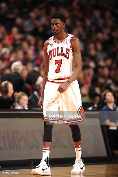 Justin Holiday of the Chicago Bulls during the game against the Portland Trail Blazers on February 27 2016 at United Center in Chicago Illinois NOTE...