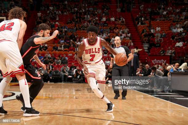 Justin Holiday of the Chicago Bulls handles the ball against the Miami Heat on November 1 2017 at American Airlines Arena in Miami Florida NOTE TO...