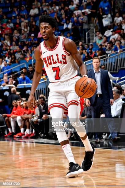 Justin Holiday of the Chicago Bulls handles the ball during the game against the Orlando Magic on November 3 2017 at Amway Center in Orlando Florida...